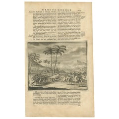 Antique Print of a Battle in the Mughal Empire by Valentijn, 1726
