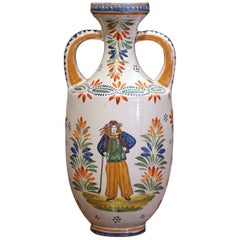 Early 20th Century French Hand Painted Faience Vase Signed Henriot Quimper