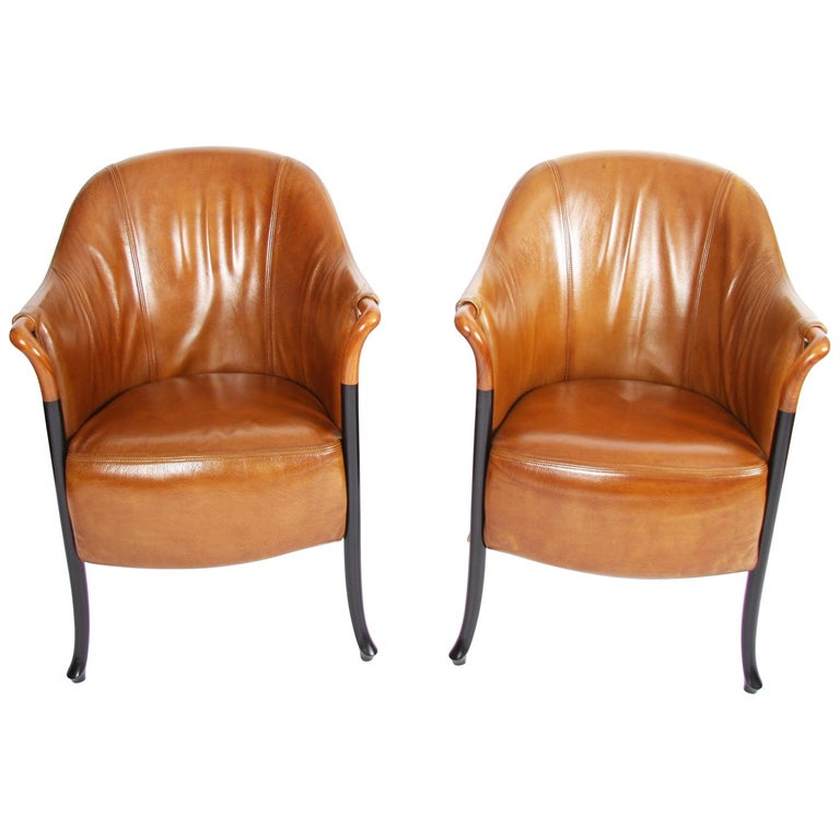 Pair of Giorgetti Tan Leather Armchairs For Sale