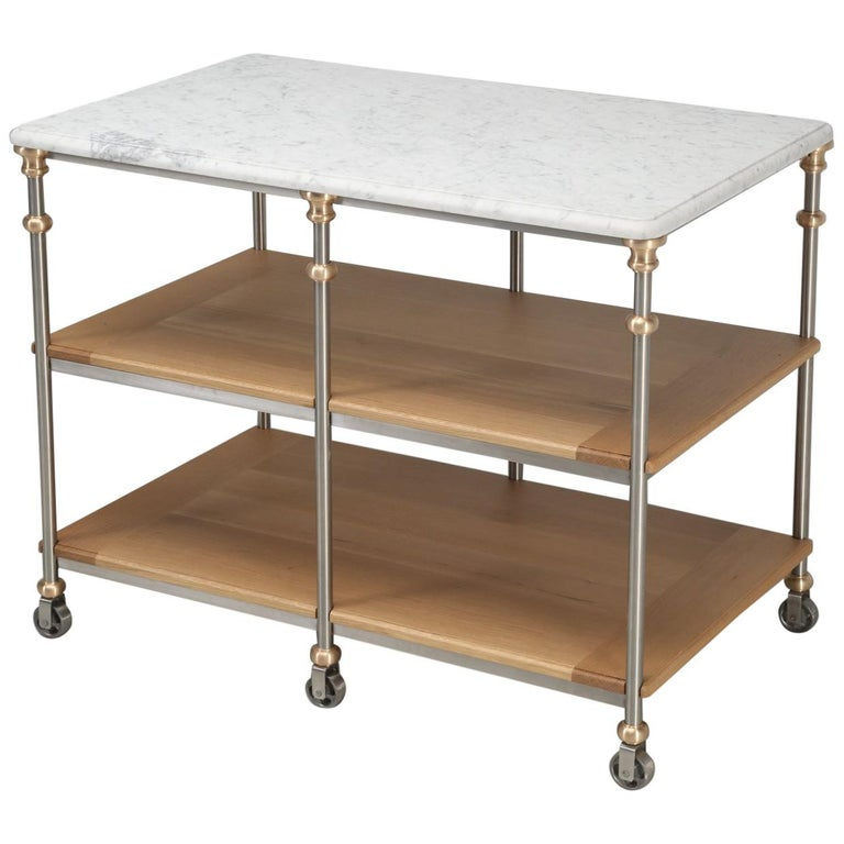 Old Plank's Stainless Steel and Bronze Kitchen Island with Carrera Marble For Sale