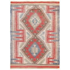 Tribal Antique Flat-Weave Turkish Kilim