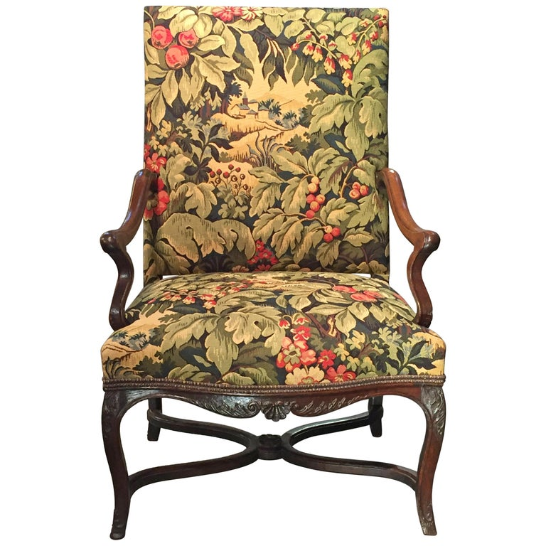 18th Century French Oak and Upholstered High Back Open Armchair For Sale