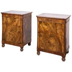 19th Century Pair of Burr Walnut Bedside Cabinets Italian Origin