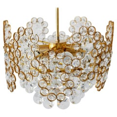 Gilt Brass Facet Cut Crystal Glass Chandelier by Palwa, 1970s, Germany