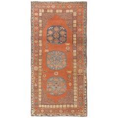 Tribal Rust Pomegranate Design Antique Khotan Rug