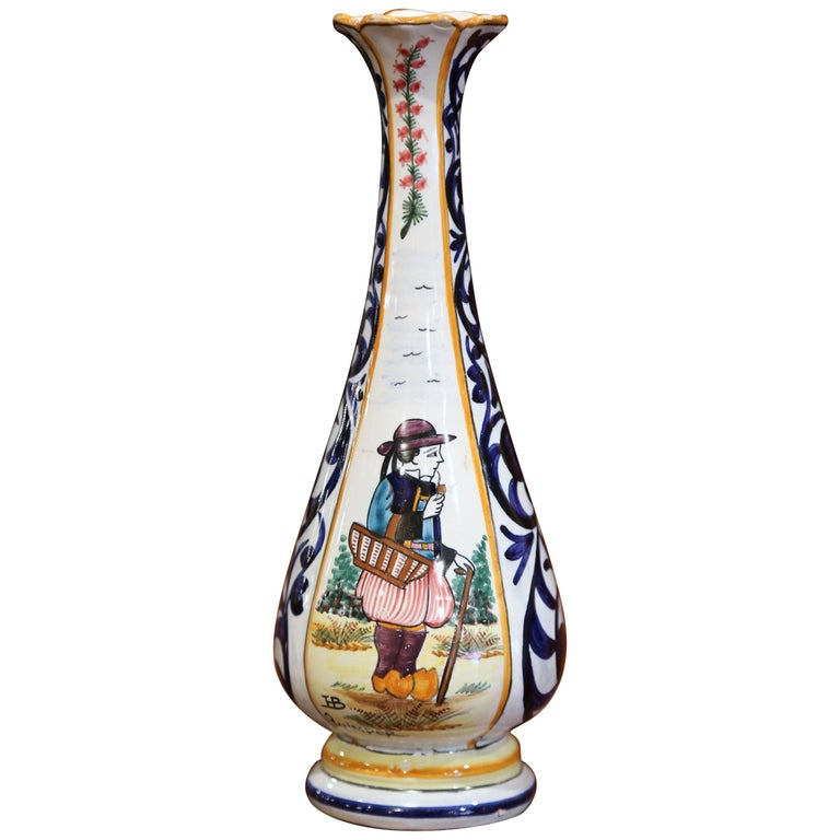 Early 20th Century French Hand Painted Faience Vase Signed HB Quimper For Sale