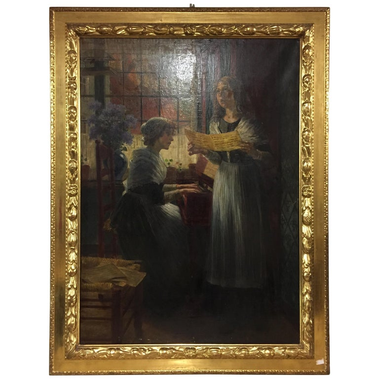 Famous Painter Walther Firle Oil on Canvas with Leaf Gold Frame For Sale