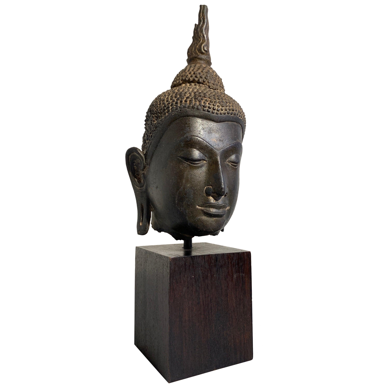 Thai Ayutthaya Bronze Buddha Head, U-Thong C Style, 14th-15th Century