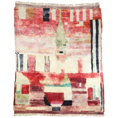 New Contemporary Berber Moroccan Rug with Postmodern Cubism Bauhaus Style