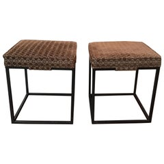 Pair of 1960s Brown Upholstered Iron Benches