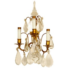 Pair of French 3-Light Bronze and Crystal Sconces