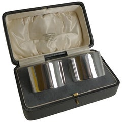 Pair of Boxed Vintage English Sterling Silver Napkin Rings Chester, 1924