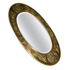 Vienna Secession Oval Bronze Wall Mirror from Austria