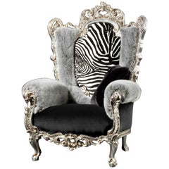 Contemporary Fashionable Baroque Armchair in Mix of Furs and Velvet