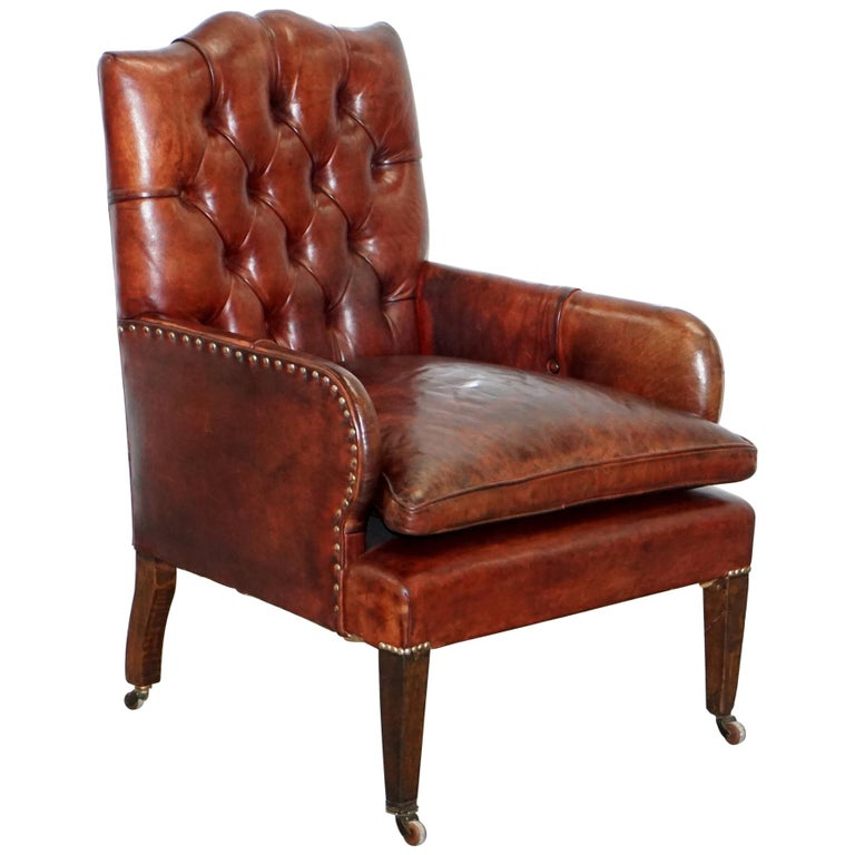 Rare Victorian Small Lounge Library Reading Chesterfield Brown