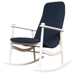 Navy Blue High Back Rocking Chair