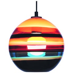 Modern Colorful Pendant, Cranberry Banded Orb, Handblown Glass Lighting