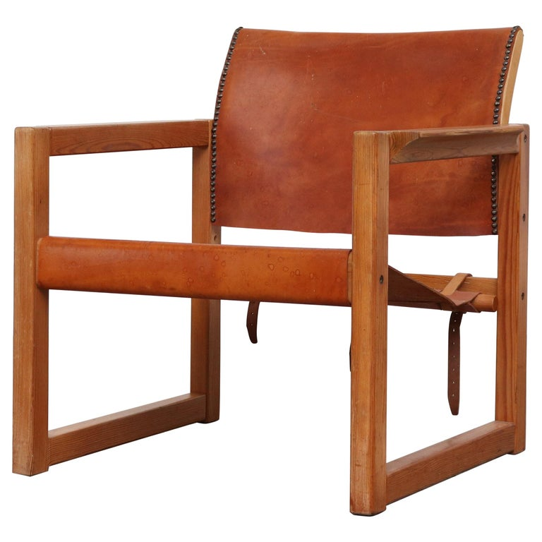 Leather Safari Style Lounge Chair For Sale