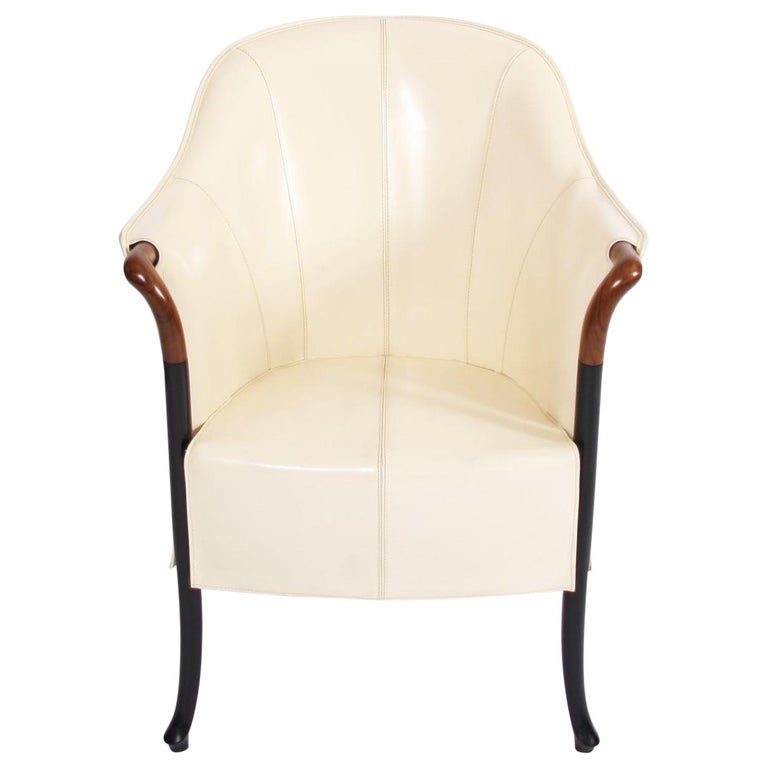 Single Giorgetti Cream Leather Armchair For Sale
