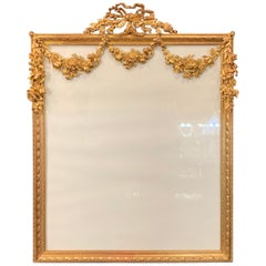 Wonderful French Large Bronze Ormolu Bow Top Garland Swag Picture Frame