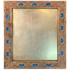 Wonderful French Large Blue Enamel Bronze Bow Swag Picture Frame