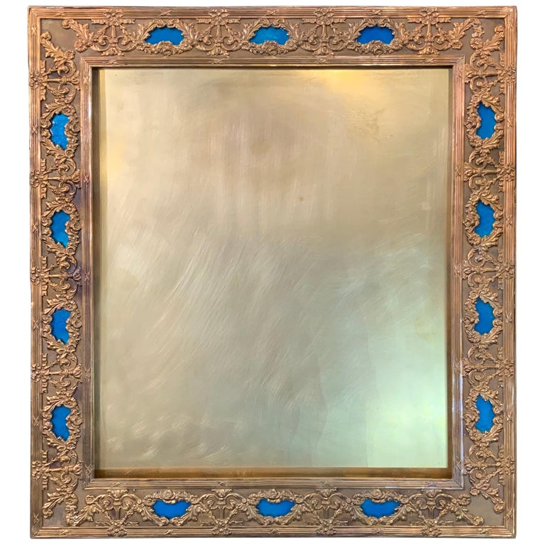 Wonderful French Large Blue Enamel Bronze Bow Swag Picture Frame For Sale