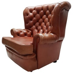Cognac Pegasus Leather Wing Chair by Whittle Brothers of Warrington, 1970s