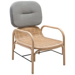 French Design Rattan Wicker and Fabric Armchair