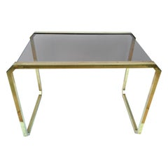 Romeo Rega style Coffee Table in Brass and Smoked Glass, Italy, 1970s Midcentury