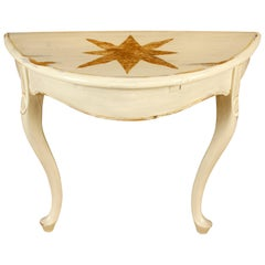 Pair of Hand Painted Star Cream Demilune Tables