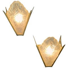 Wonderful Pair of French Art Deco Slip Shade Glass Degue Wall Sconces