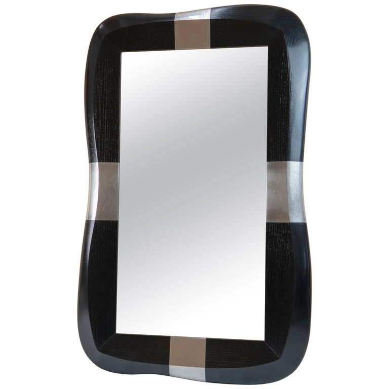 """Mirror in Oak and Pewter by Jacques Jarrrige """"Stanni"""" For Sale"""