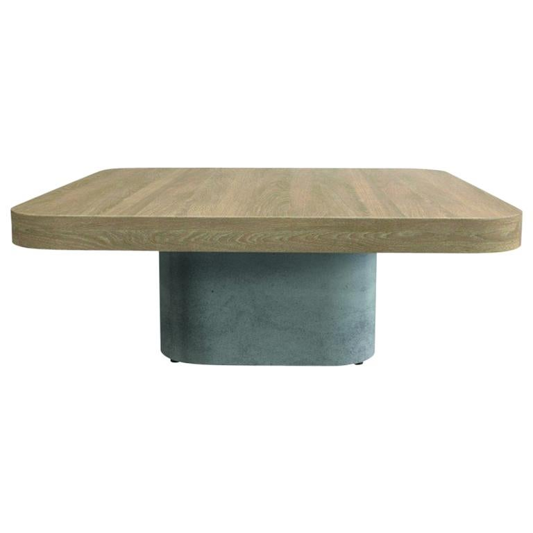Oak Wooden and Concrete Design Coffee Table