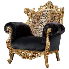 Contemporary Fashionable Baroque Armchair in Animal Skin and Velvet