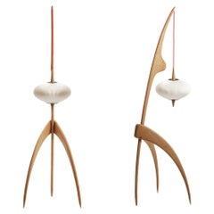 """French 1950s Design by Rispal Pair of """"Mante Religieuse"""" Oak Wooden Floor Lamps"""