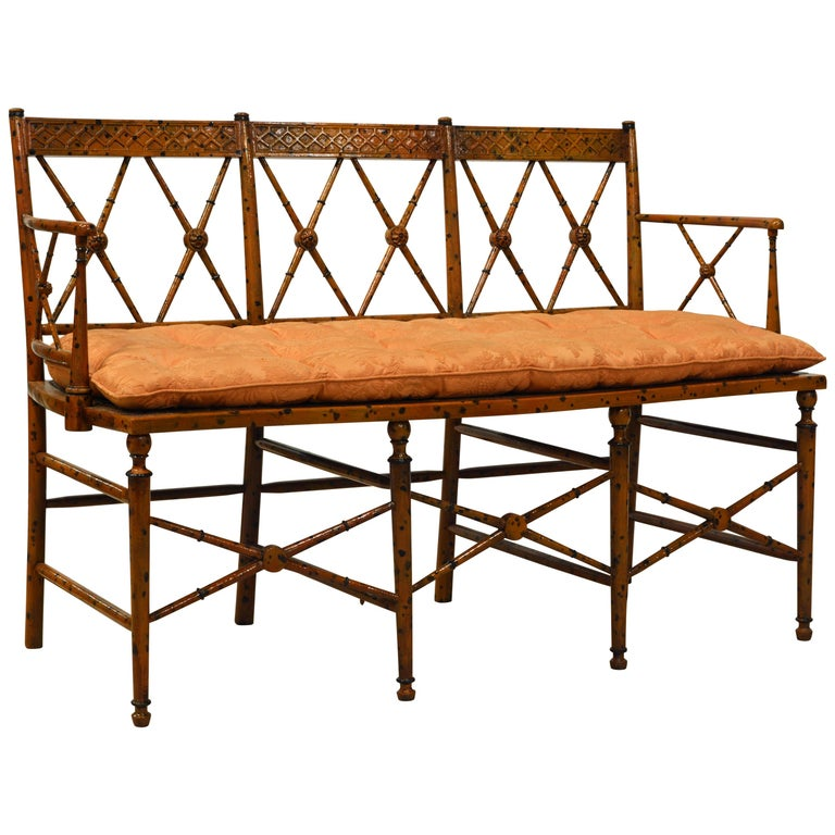 19th Century English Regency Style Painted Faux Bamboo Cane Seat Settee For Sale