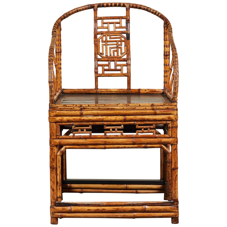 19th Century Chinese Bamboo Horseshoe Armchair For Sale
