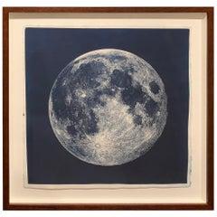 Framed Cyanotype of the Near Side of the Moon