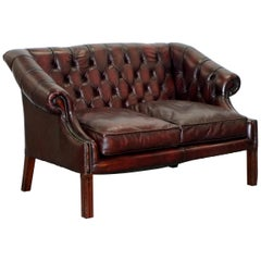 Chesterfield Lutyen's Style Viceroy's Oxblood Leather Two-Seat Sofa