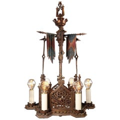 Cold-Painted Bronze Spanish Revival Chandelier