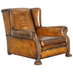 Victorian 1860 Sprung Lounge Wingback Brown Leather Armchair Lion Hairy Paw Feet