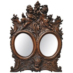 Baroque Style Carved Walnut Double Oval Mirror Picture Frame with Cherubs