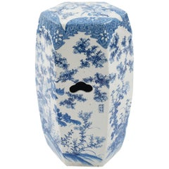 Asian Chinese Blue and White Style Garden Seat