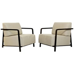 Contemporary Modern Pair of Lounge Armchairs by Calligaris Made in Italy