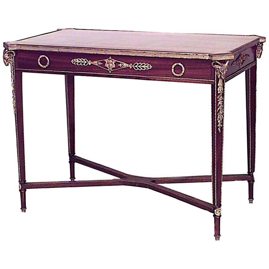 French Louis XVI Style Mahogany Table Desk