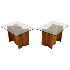 Mid-Century Modern Pair Sculptural Wood Glass Side End Tables