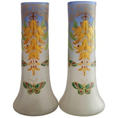 Pair of Art Nouveau Legras Vases Enameled Art Glass, circa 1900