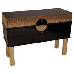 Midcentury Black Shellac and Semi Round Brass Rods Commodes, 1970
