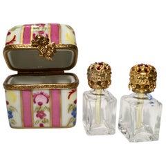 Delightful Limoges France Peint Main Porcelain Box and Two Perfume Bottle Trio
