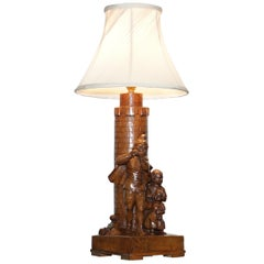 Rare Pied Piper of Hamelin Black Forest Carved Wood Arts & Crafts Table Lamp